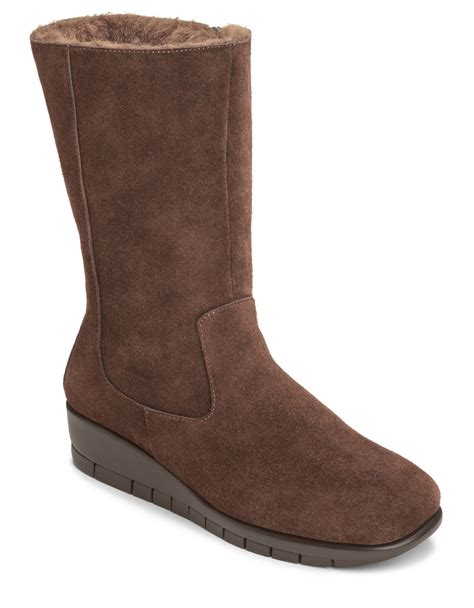 fleece mid calf boots lyst aerosoles plantation suede mid shaft boots in brown