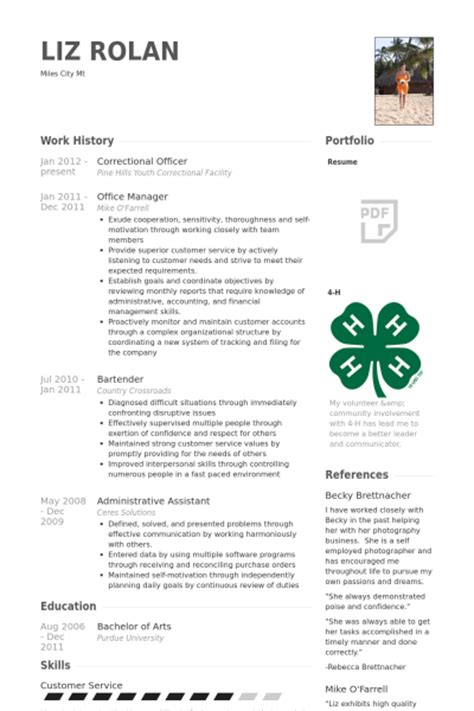 free resume for correctional officer