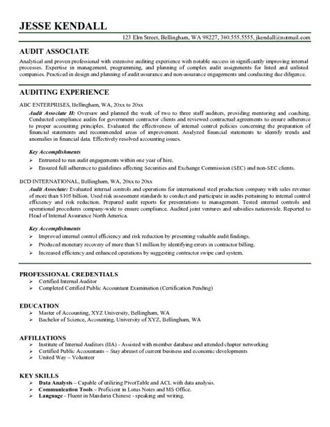 Audit Associate Resume Format exle audit associate resume free sle