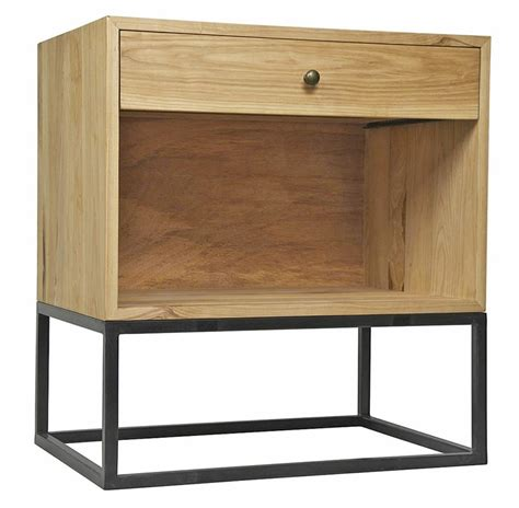 Metal Nightstand by Reilly Industrial Loft Elm Metal Nightstand Kathy Kuo Home