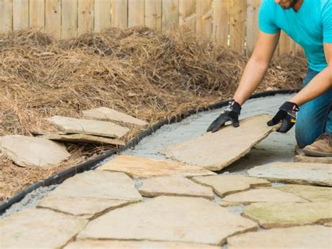 laying flagstone in sand how to lay a flagstone pathway how tos diy