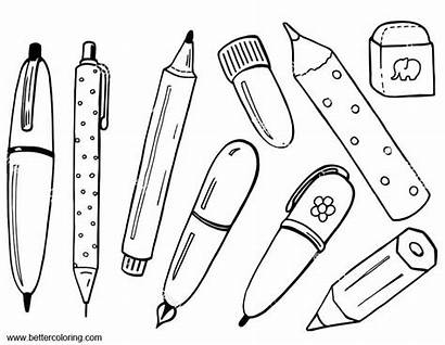 Coloring Supplies Eraser Pages Printable Adults