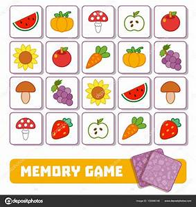 Memory Game For Children Cards With Fruits And Vegetables