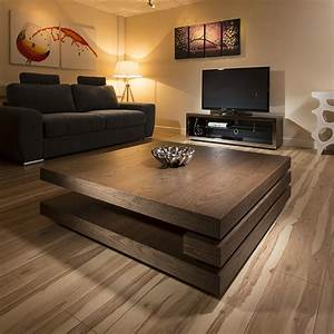 Extra large modern square dark elm brown wood 12mt coffee for Large dark brown coffee table