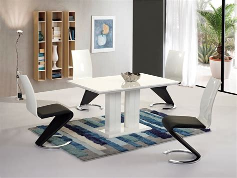 Black And White Dining Table Set by Modern White High Gloss Dining Table And 4 Chairs Set