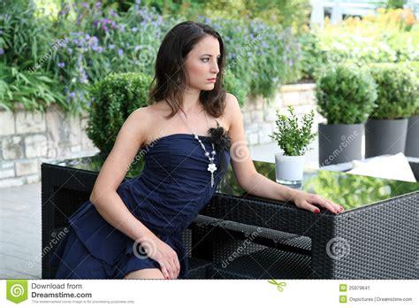 fashionable woman  patio stock image image