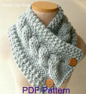 Windycityknits  Knit Cable Cowl Scarf Pattern Pdf