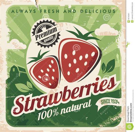 affiche pour cuisine calibre d 39 affiche de vintage pour la ferme de fraise