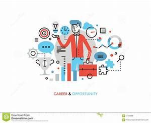 Career Opportunity Flat Line Illustration Stock Vector ...