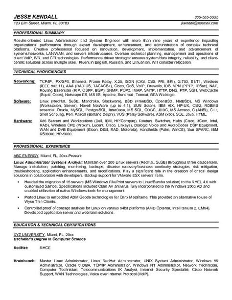 Network Admin Resume Objective by Sle Resume It Administrator