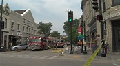 Six firefighters injured while battling fire in downtown ...