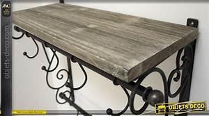 étagère Bois Et Fer Forgé : etag re vestiaire bois fer forg style d co brocante ~ Edinachiropracticcenter.com Idées de Décoration