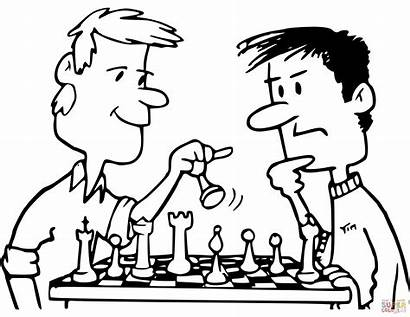Chess Coloring Playing Friends Pages Ajedrez Clipart