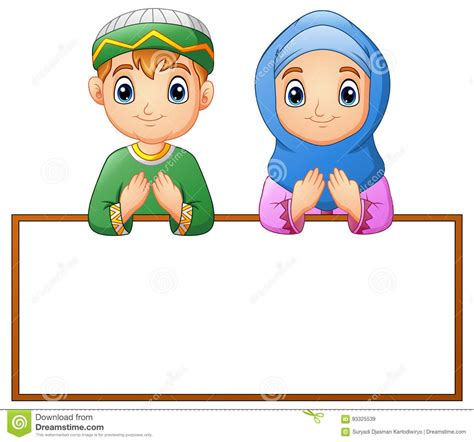 muslim couple kid praying  blank sign stock vector
