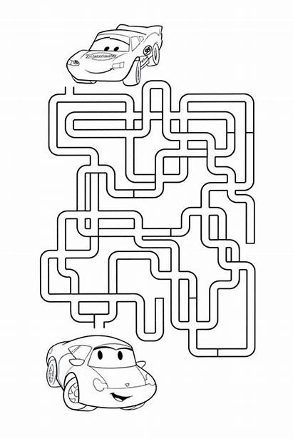 Maze Mazes Disney Activities Worksheets Fun Cars