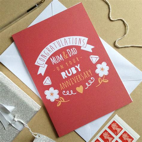 personalised ruby wedding anniversary card  ello design