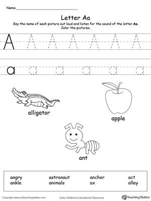 small printable alphabet flash cards for letters a b c d 741 | Words Starting With Letter A