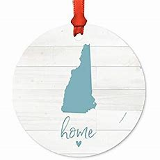 Amazoncom Andaz Press Us State Round Metal Christmas Ornament, Rustic Light Wood Print, New