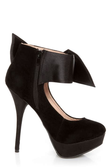 bow ankle pumps carissa 13 black side bow ankle cuff platform pumps 39 00