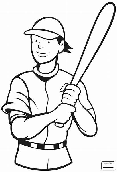 Coloring Baseball Player Pages Batter Drawing Stance