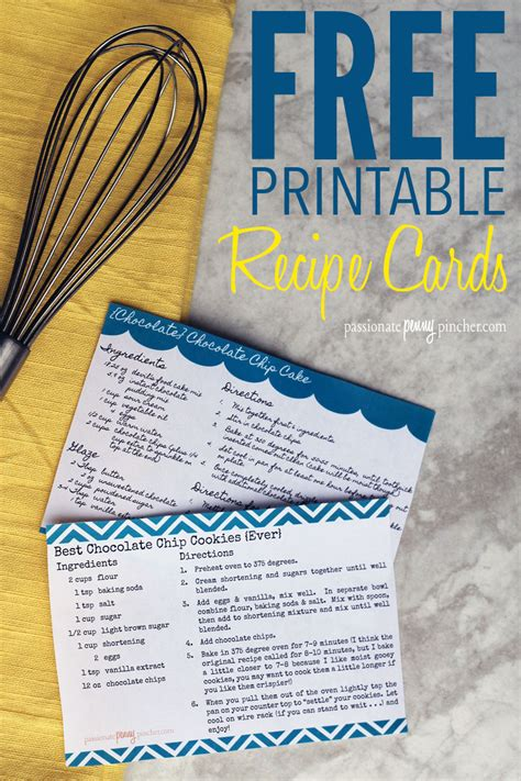 printable recipe cards passionate penny pincher