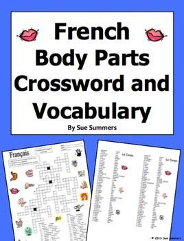 french body parts crossword  image ids worksheet