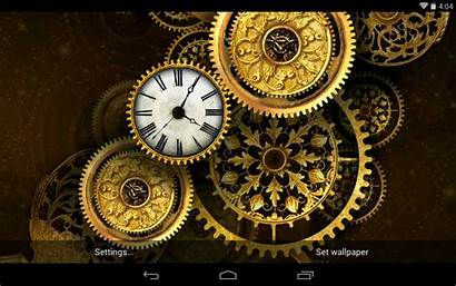 Clock Gears Steampunk Wallpapers Gold Clocks 3d