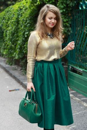 dark green choies skirts green midi skirt