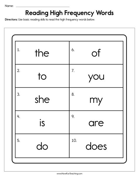 reading high frequency words worksheet  images cvc
