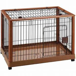 Richell wood mobile dog crate 640 wooden pet pens 940 for Best wooden dog crate