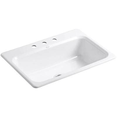 cast iron single bowl kitchen sink kohler bakersfield top mount cast iron 31 in 3 9383