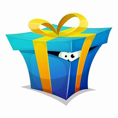 Gift Birthday Box Fun Inside Vector Cartoon