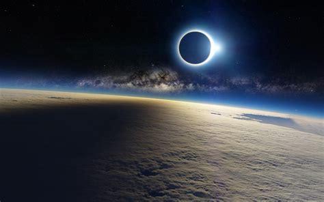 Space Eclipse Sun Light Moon Shadow Earth Cloud Milky
