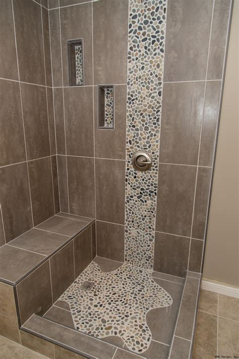 tile bathroom ideas spruce up your shower by adding pebble tile accents click
