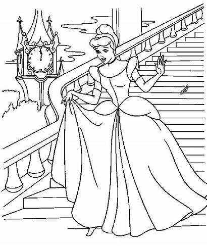 Cinderella Coloring Pages Stairs Down Colouring Princess