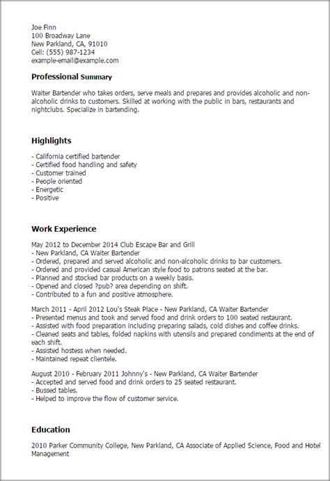 bartender resume professional waiter bartender templates to showcase your talent myperfectresume