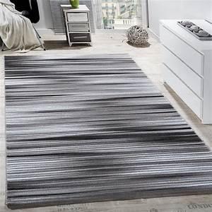 Teppich Grau Modern : teppich wohnzimmer modern gestreift kurzflor glitzergarn meliert grau anthrazit wohn und ~ Whattoseeinmadrid.com Haus und Dekorationen
