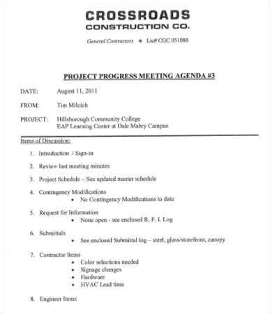 construction meeting agenda template   word