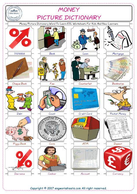 money esl printable english vocabulary worksheets