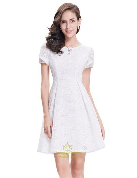 Elegant White Short Semi Formal Dresses With Short Sleeves   Vampal Dresses
