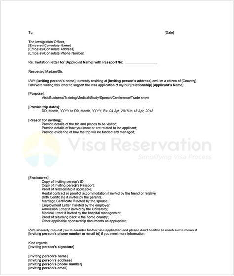 invitation letter for visa invitation letter for schengen visa letter of invitation 28989