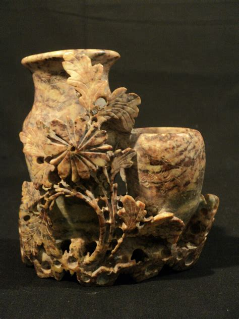 Carved Vase by Beautiful 19th Century Carved Soapstone Vase With