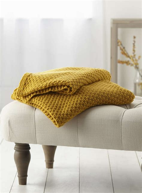 mustard waffle knit throw bhs throws  rugs