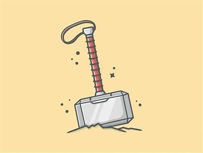Hammer Thor Mjolnir Dribbble Thors Vector Illustration