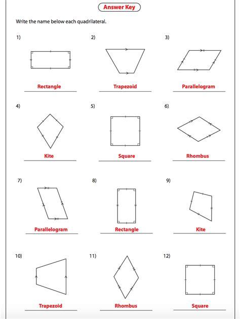 classifying quadrilaterals worksheet key free printables