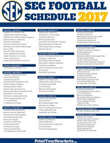 Printable SEC Football Schedule 2017
