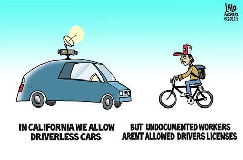 Driverless Cars, Licenseless Drivers (cartoon)