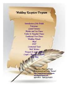 wedding reception program wedding program sle wedding website philippines augustine and events