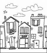 Coloring Neighborhood Pages Houses Town Colouring Drawing Quilts Barber Community Worksheet Easy Drawings Doodle Buildings Places Adult Simple Template Worksheets sketch template