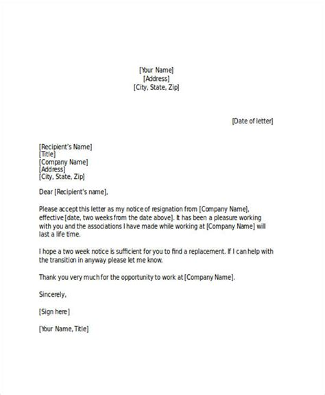 weeks notice letter examples samples